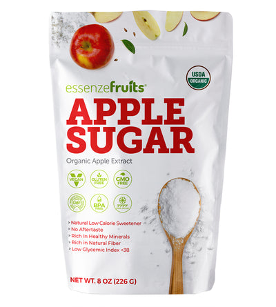Essenzefruits Organic Apple Sugar - Innovation, 1:1 Cane Sugar Substitute, No Aftertaste, Less Calories, Clean Label Sweetener, Minerals, Soluble, High in Prebiotic soluble fibers. - EssenzeFruits