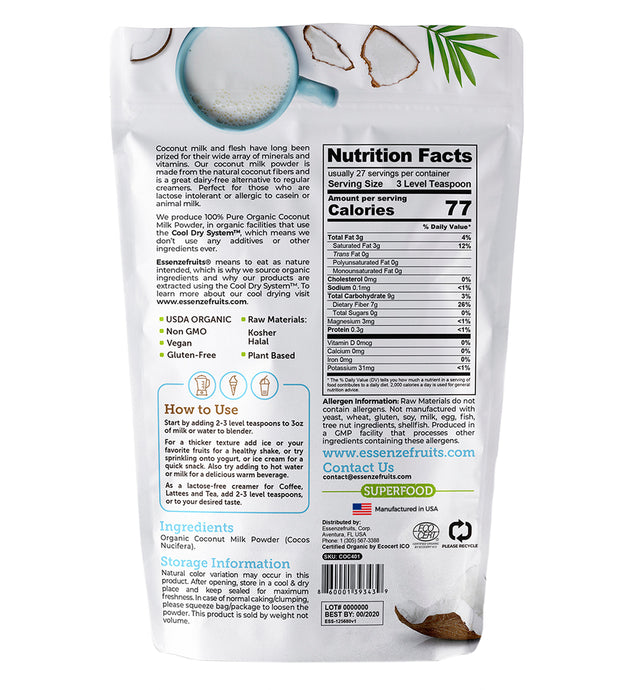 Pure Organic Coconut Milk Powder - EssenzeFruits Essenze Fruits Natural Superfood Organic Gluten Free Vegan super food