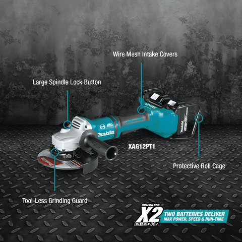 "Makita XAG12PT1 36V (18V X2) LXT® Brushless 7"" Paddle Switch Cut‑Off/Angle Grinder Kit, with Electric Brake (5.0Ah)"