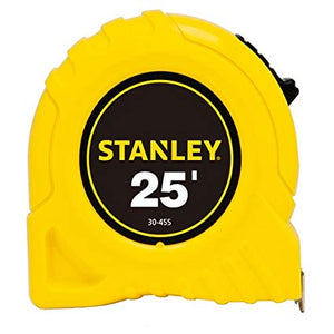 The STANLEY® 25 ft. Tape Measure is made from high impact ABS plastic for added durability with a polymer coated tape blade to protect from wearing during use. This tape measure features 7 ft. of stand out and easy to ready markings.