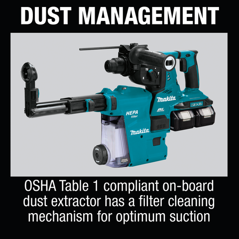 "Makita XRH10PTW 36V (18V X2) LXT® Brushless 1‑1/8"" AVT® Rotary Hammer Kit, SDS‑PLUS, w/ HEPA Dust Extractor, AFT®, AWS® Capable (5.0Ah)"