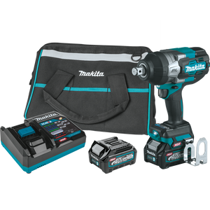 "Makita GWT01D 40V max XGT® Brushless Cordless 4‑Speed High‑Torque 3/4"" Sq. Drive Impact Wrench Kit w/ Friction Ring Anvil (2.5Ah)"