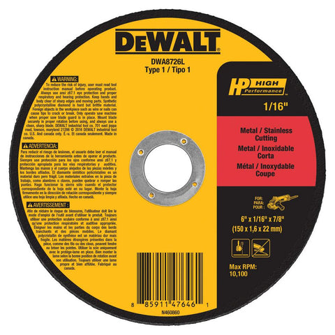 "DeWalt DWA8726L 6"" x 1/16"" x 7/8"" T1 High Performance Cut-Off Wheels"