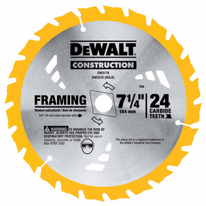 "DeWalt DW3578B10 7-1/4"" 24T Thin Kerf Construction Framing Blade"