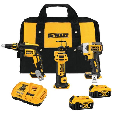 DeWalt DCK301P2 20-Volt MAX XR Lithium-Ion Cordless Drywall Combo Kit (3-Tool) with Impact Driver, Drywall Screwgun & Cut-Out Tool