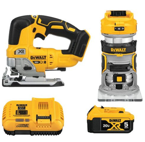 DeWalt DCK201P1 20-Volt MAX XR Lithium-Ion Cordless Woodworking Combo Kit (2-Tool) with Brushless Jigsaw & Brushless Router