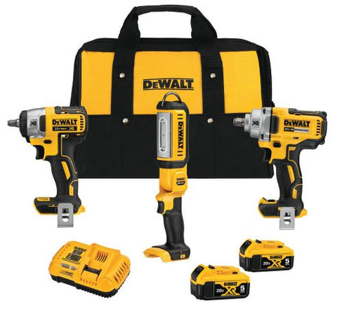 DeWalt DCK302P2 20-Volt MAX XR Lithium-Ion Automotive Combo Kit (3-Tool) with 1/2 in. Impact Wrench, 3/8 in. Impact Wrench & LED Light
