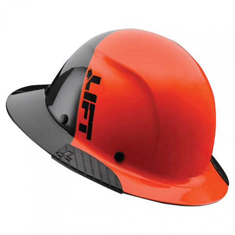 Image of LIFT Safety HDF50C-19OC DAX 50-50 Carbon Fiber Full Brim Hard Hat - Ratchet Suspension - Orange/Black