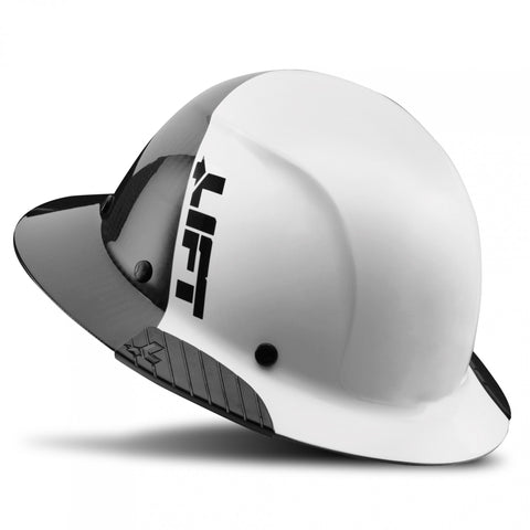 Image of LIFT Safety HDF50C-19WC DAX 50-50 Carbon Fiber Full Brim Hard Hat - Ratchet Suspension - White/Black
