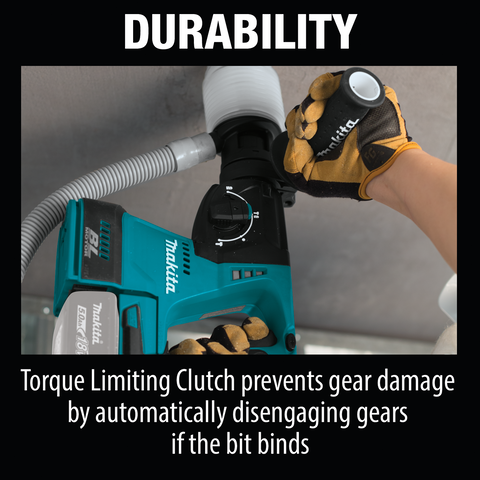 "Makita XRH01Z 18V LXT® Lithium‑Ion Brushless Cordless 1"" Rotary Hammer, accepts SDS‑PLUS bits, Tool Only"