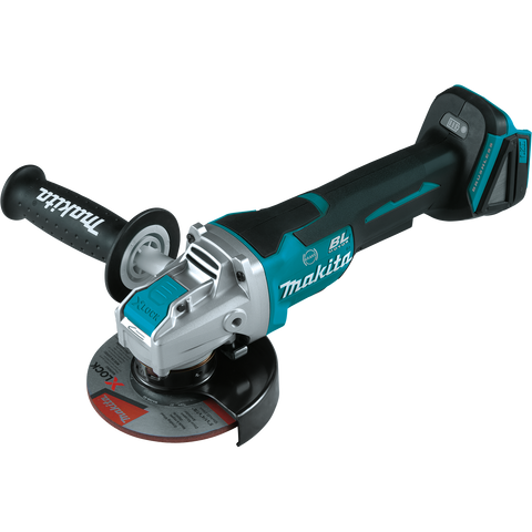 "Makita XAG26Z 18V LXT® Lithium‑Ion Brushless Cordless 4‑1/2"" / 5"" Paddle Switch X‑LOCK Angle Grinder, with AFT®, Tool Only"