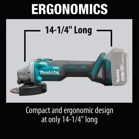 "Makita XAG04Z 18V LXT® Lithium‑Ion Brushless Cordless 4‑1/2"" / 5"" Cut‑Off/Angle Grinder, Tool Only"