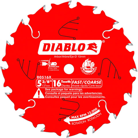 Diablo D0516X 5-3/8 In. X 16 Tooth 10Mm Arbor Cordless Trim Saw Blade
