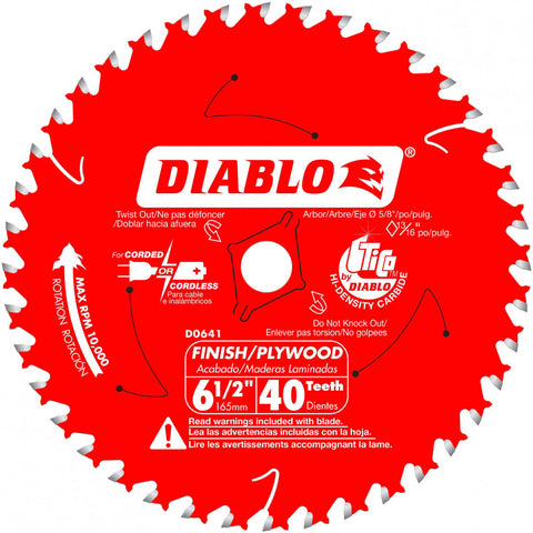 "Diablo D0641X 6-1/2"" X 40 ATB Finish/Plywood Saw Blade"