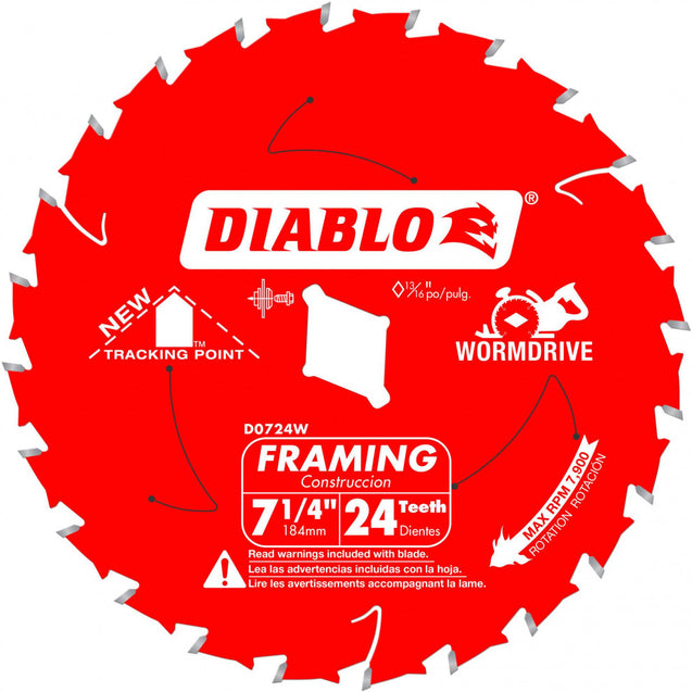 "Diablo D0724W 7-1/4"" X 24 Tooth Wormdrive Carbide Circular Saw Blade"