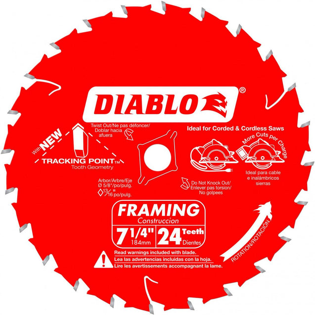 "Freud D0724X Diablo 7-1/4"" 24 Tooth ATB Carbide Framing Saw Blade"