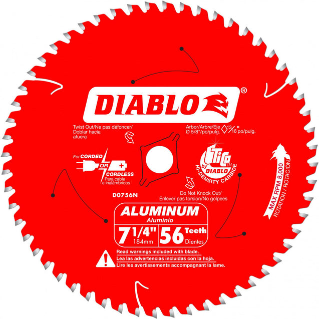 Diablo D0756N 7-1/4 In. X 56 Tooth Carbide Circular Saw Blade