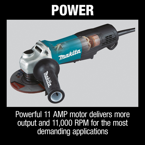 "Makita GA5052 4‑1/2"" / 5"" Paddle Switch Angle Grinder, with AC/DC Switch"