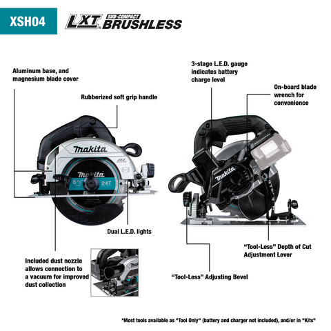 "Image of Makita XSH04RB 18V LXT® Lithium‑Ion Sub‑Compact Brushless Cordless 6‑1/2"" Circular Saw Kit (2.0Ah)"