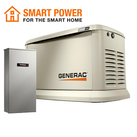 Generac 7043 22000-Watt (LP)/19500-Watt (NG) Air-Cooled Standby Generator with Wi-Fi and Whole House 200 Amp NEMA3 Transfer Switch