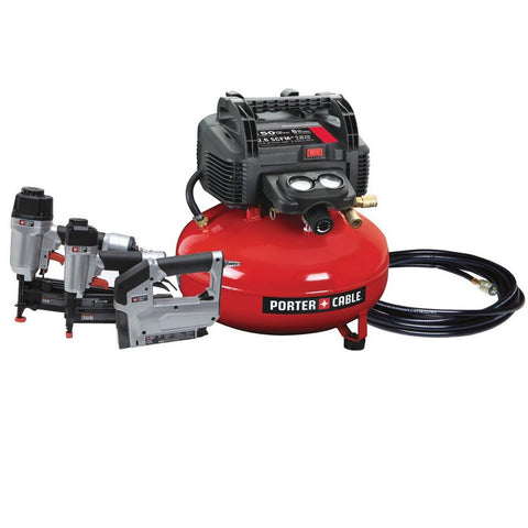 Porter-Cable PCFP12234 6 Gal. 150 PSI Portable Electric Air Compressor, 16-Gauge Nailer, 18-Gauge Nailer and 3/8 in. Stapler Combo Kit (3-Tool)