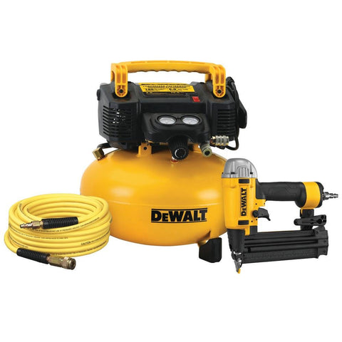 DeWalt DW1KIT18PP 18-Gauge Brad Nailer and 6 Gal. Heavy Duty Pancake Electric Air Compressor Combo Kit (1-Tool)