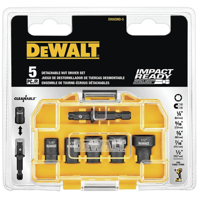 5-Piece DeWalt Impact Detachable Nut Driver Bit Set Drill Drive Accessories