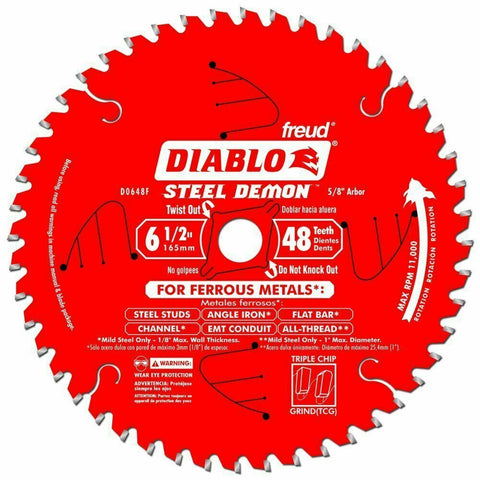 "Diablo D0648F 6-1/2"" x 48T Steel Demon TCG Ferrous Circular Saw New"
