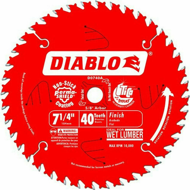 "Diablo D0740A 7-1/4"" x 40 Tooth Carbide Circular Saw Blade"