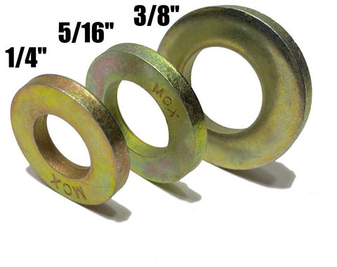 "Qty 100 EA) 1/4"" + 5/16"" + 3/8"" Grade 8 Extra Thick SAE Flat Washers (300 TOTAL)"