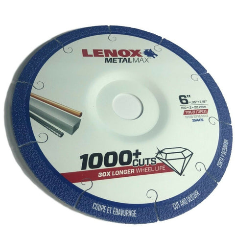 "Lenox 6"" 2044470 MetalMax Diamond Wheel TYPE 27 Depressed Center"
