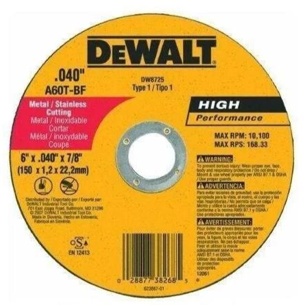 "DeWalt DW8725 6"" x .040"" x 7/8"" Metal and StaInless CuttIng Wheel"