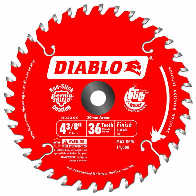 Diablo D0436X 4-3/8-Inch 36-TPI Portable Carbide Cordless Trimming Saw Blade