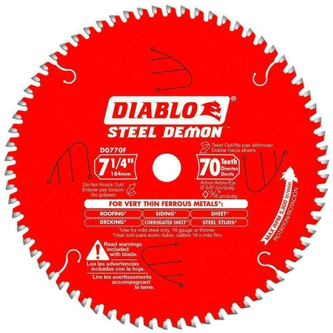 "Diablo D0770F TCG Ferrous Cutting Blade 7-1/4"" x 70 Tooth New"