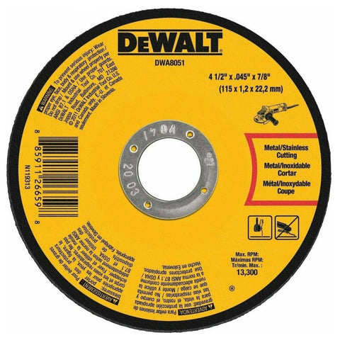 "DeWalt DWA8051 Metal Cut Off Wheel 4 1/2"" x 7/8"" x .045"""