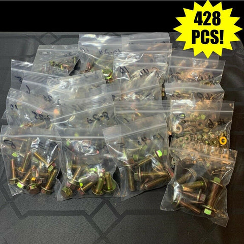 428 Pcs Grade 10.9 Metric Flange Bolt & Flange Nut Yellow Assortment Kit