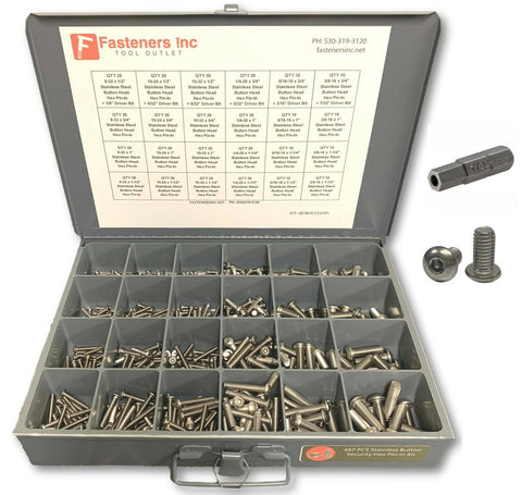 487 PCS Security Hex Pin-In Stainless Steel Button Head Cap Screw Assortment Kit - Grey