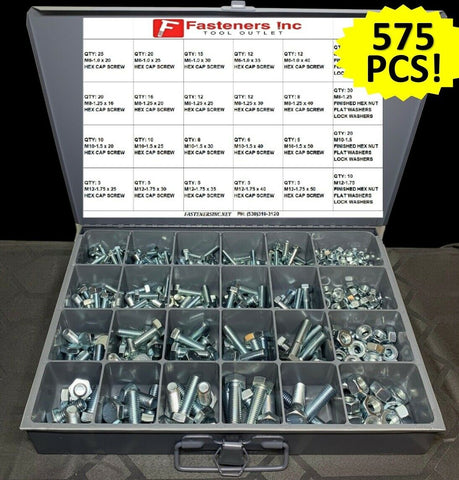575 Pcs Metric Bolt Kit Assortment M6-M12 Zinc Class 10.9 / Hardened Grade