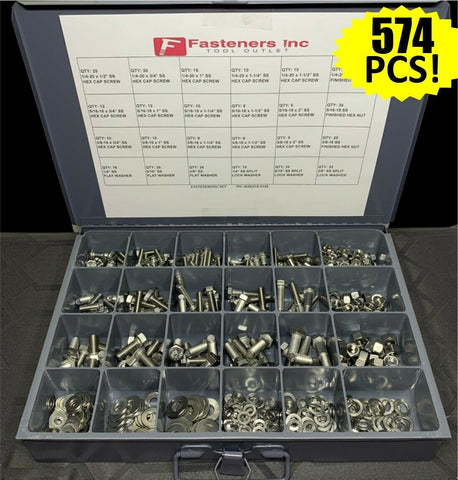 574 PCS 18-8 Stainless Steel Hex Cap Screw Bolt Nut Washer 304 Assortment Kit