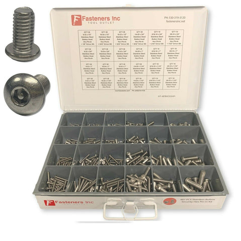 487 PCS Security Hex Pin-In Stainless Steel Button Head Cap Screw Assortment Kit - White