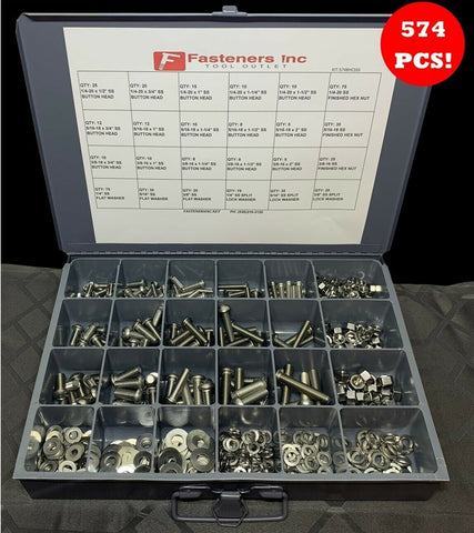 574 PCS Stainless Steel Button Socket Head Cap Screw Allen Bolt Assortment Kit