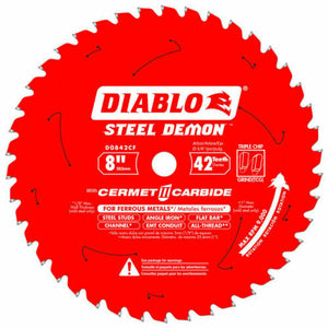 "Diablo D0842CF 8"" Steel Demon 42T Cermet II Carbide Ferrous Metal Saw Blade New"