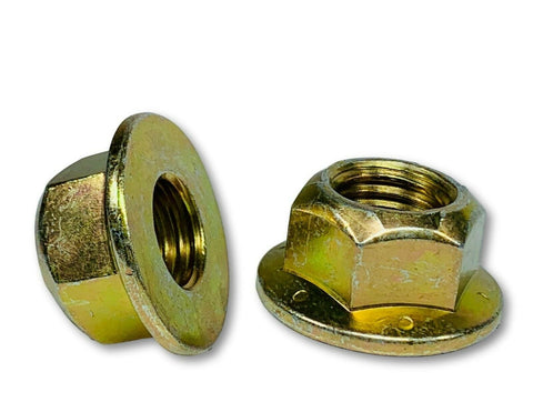 "7/16""-14 Locking Flange Nut Grade 8 Yellow Zinc Plated"