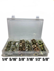 425 Piece Grade 8 SAE Extra Thick Heavy Duty Flat Washer Assortment Kit 6 Sizes