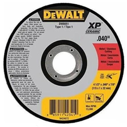"DeWalt DW8051 4-1/2"" x 0.04"" x 7/8"" Metal StaInless Steel CuttIng Wheel"