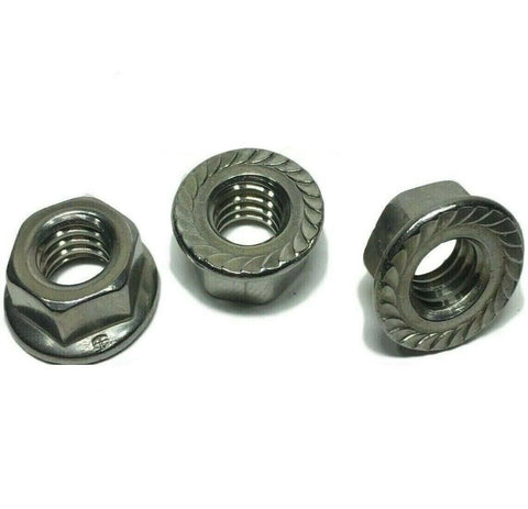 "1/2""-13 Stainless Steel Hex Flange Nut Locknuts Serrated GRADE 316"