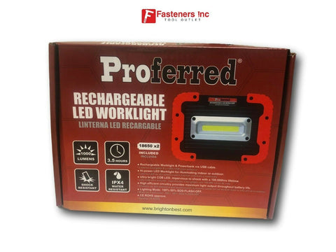 Proferred Rechargeable Led Worklight 1000 Lumens 3.5hrs M12040 USB Rechargeable