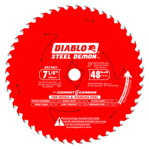 DIABLO 7‑1/4 in. x 48T Metal and Stainless Steel Cutting Saw Blade D0748CF