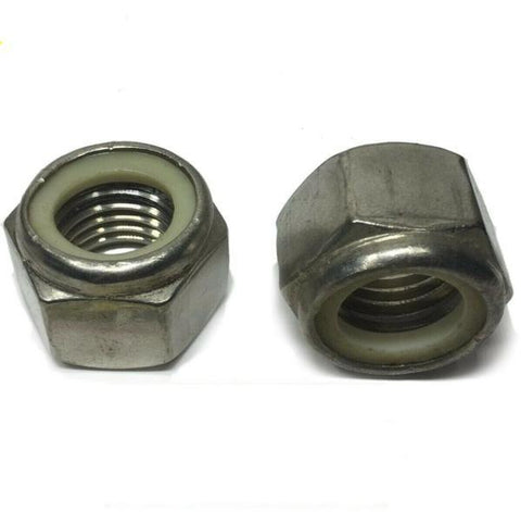 (Qty 100) 1/4-20 Stainless Steel Nylon Insert Lock Hex Nut UNC Nylock