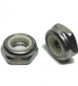 (Qty 25) 1/4-20 Hex Jam Nylon Insert Lock nut Nylock Stainless Steel Half Height